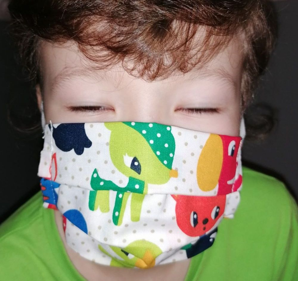 Face Mask Tie Back Animals Style Child Size